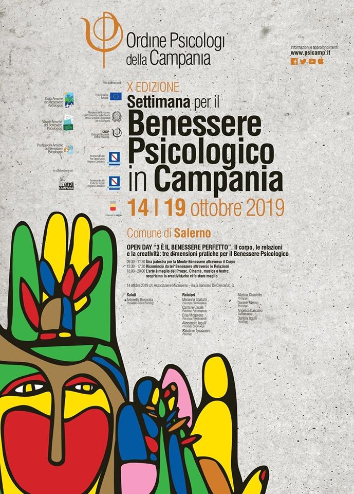 Locandina eventi settimana del benessere psicologico 2019